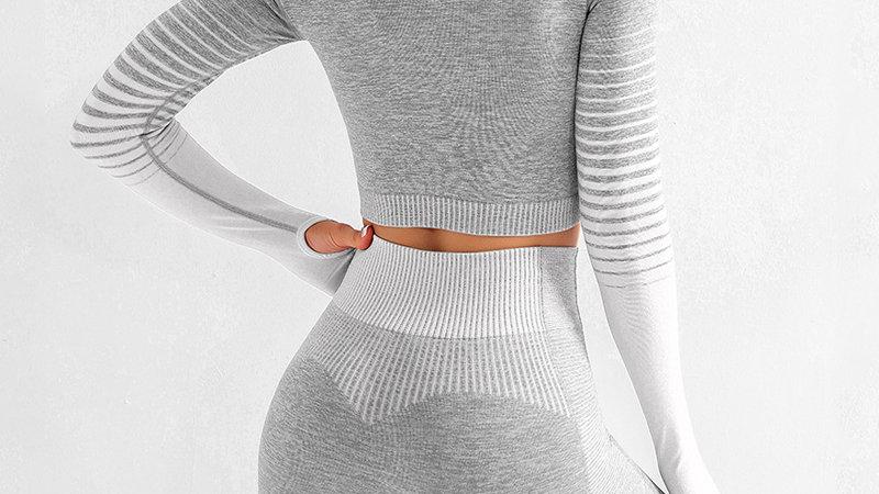 Seamless Women Set Long Sleeve Top High Waist  Leggings