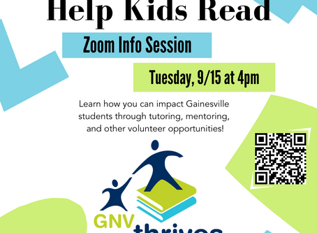 Help Kids Read! September 15 @ 4PM