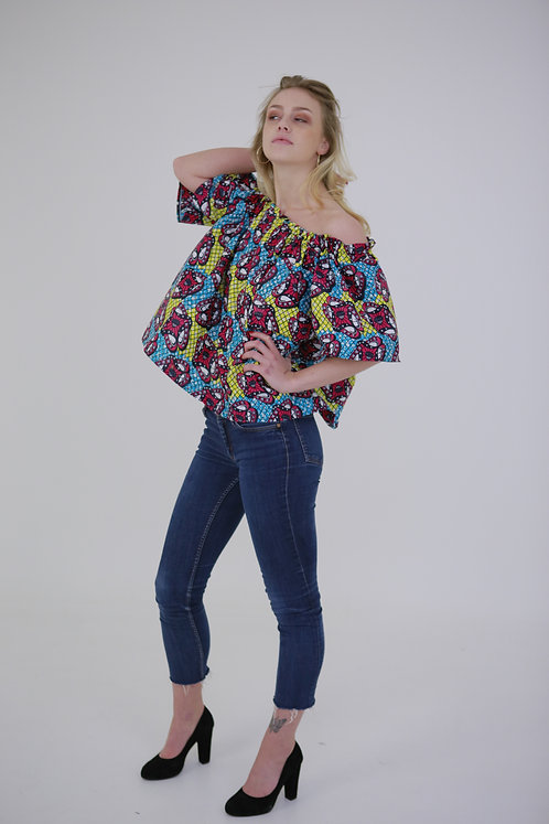 Light Print Off-Shoulder Shirt