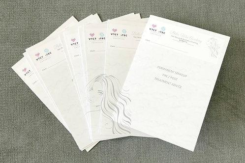 Permanent Makeup Pre/Post Treatment Advice Folded Leaflet