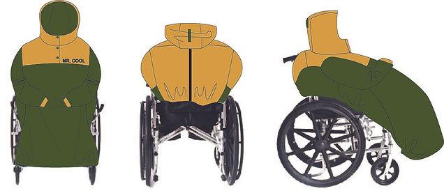volledige  rolstoelcape mouwen coloured.