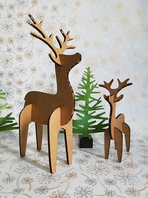 Cardboard Deer Duo