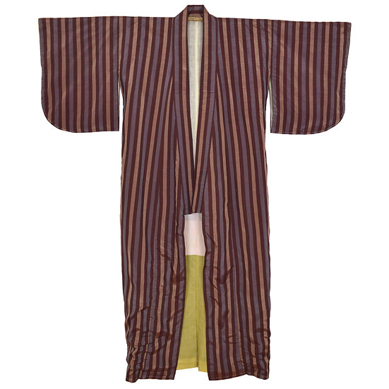 Burgundy Stripe Vintage Kimono