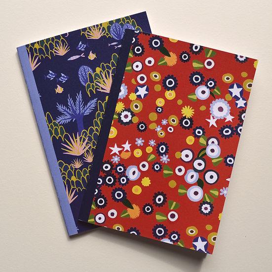 2 Bold Patterned Notebooks - A5