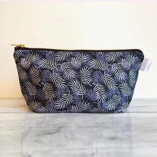 Blue Palm Leaf Cosmetic Bag