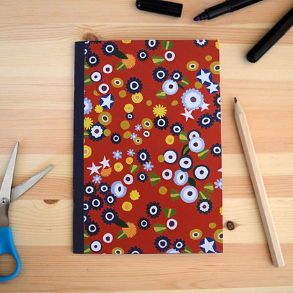 Red Floral Notebook - A5