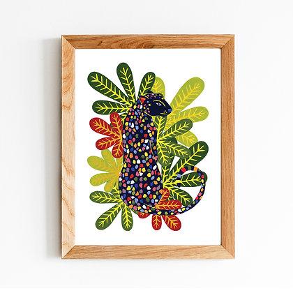 Rainbow Leopard A4 Art Print