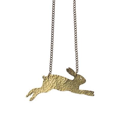 Hammered Brass Hare Necklace