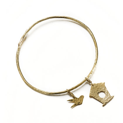 Hammered Brass Bird Box Bangle