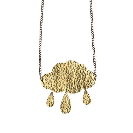 Hammered Brass cloud Necklace