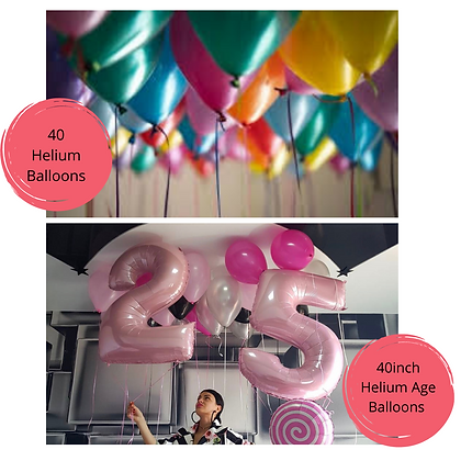 40 Ceiling Helium balloons and Age