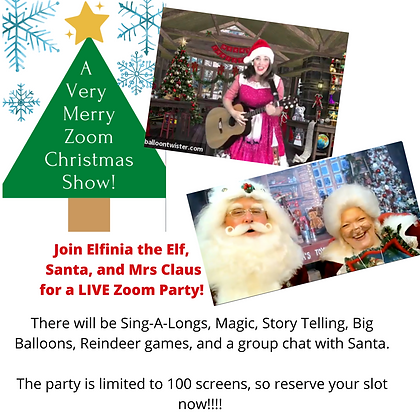 Tickets: Friday, December 11th 4:15pm Christmas Zoom Show