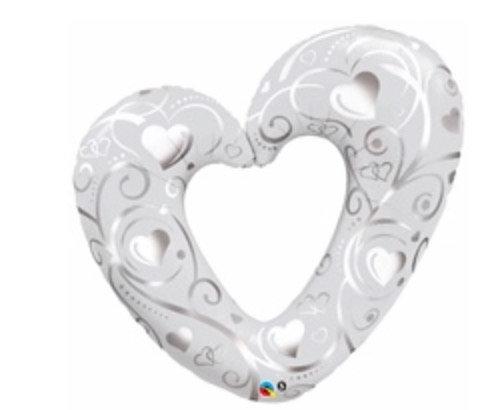 Silver/White Heart