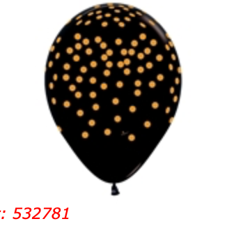 Black and Gold Dot 11 inch Balloon