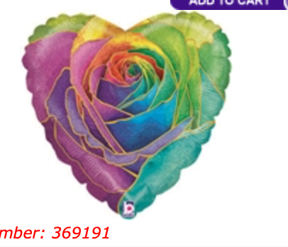 Rainbow Rose Heart 18 inch