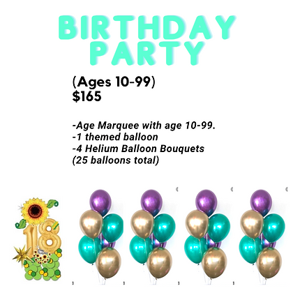 Birthday Party Package (adult/Teen)