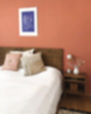 Schlafzimmer Klassisch Holz Wandgestaltung Koralle