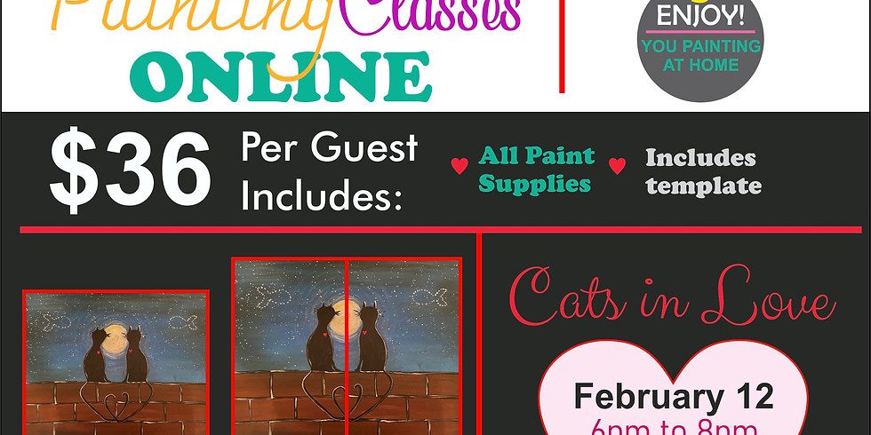 Painting Classes Online CATS IN LOVE