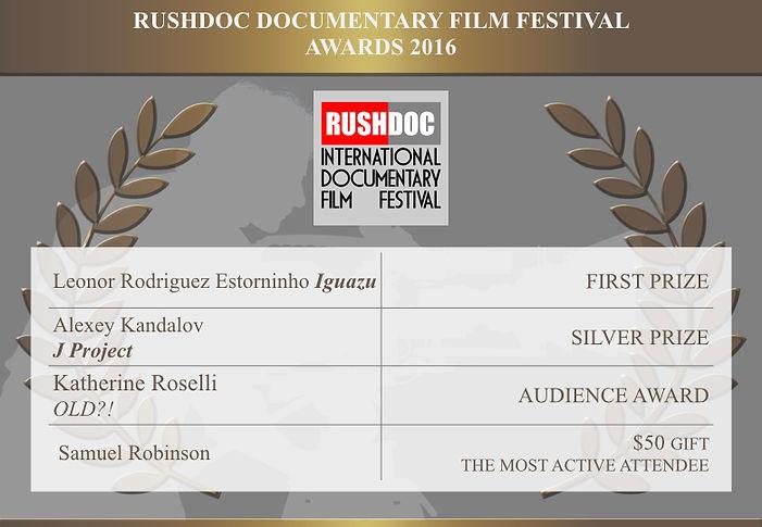RushDoc Film Festival Winners 2016 Prizes