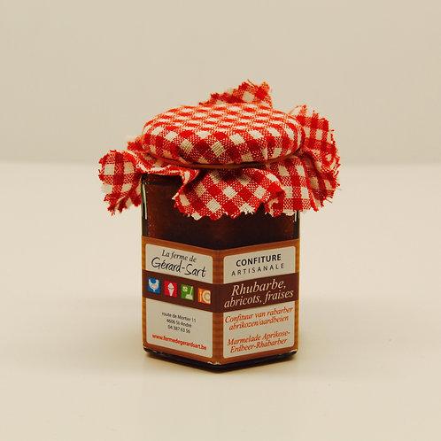 Confiture artisanale : rhubarbe, abricots, fraises - La ferme de Gérard-Sart