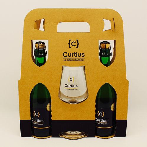 Curtius - Coffret cadeau de 2 bières blondes, et un verre