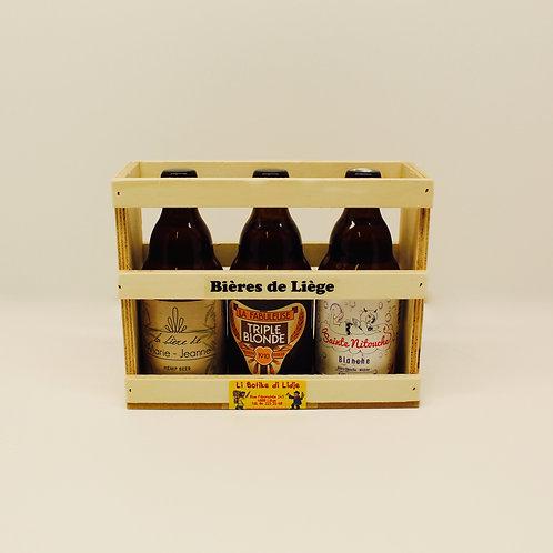 Coffret cadeau en bois de 3 bières mixtes