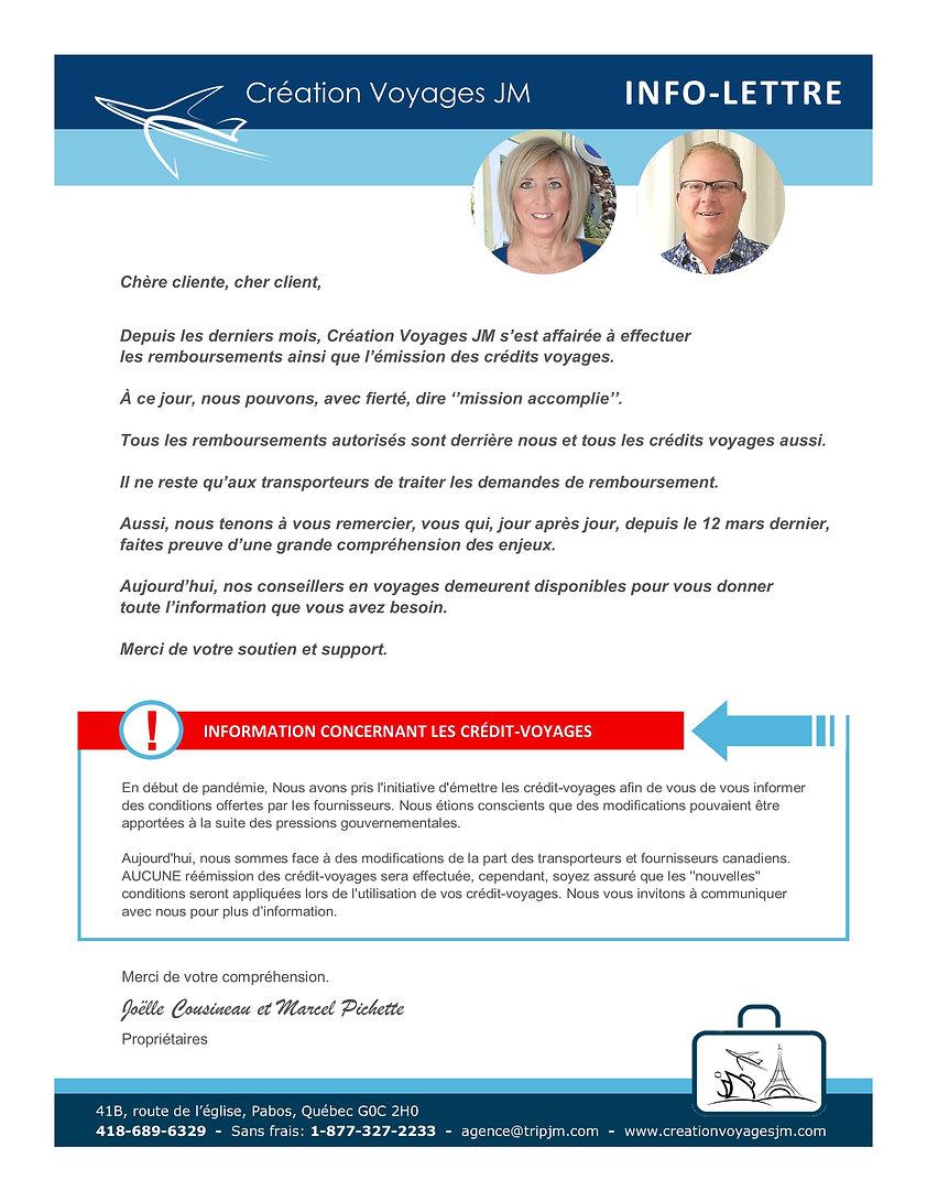 Info lettre Création Voyage JM