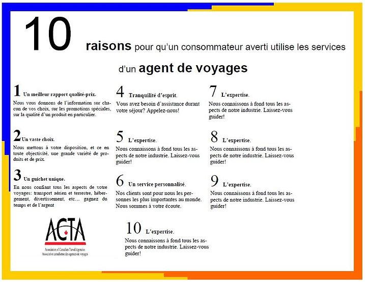 10 bonnes raisons - agent de voyages Création voyage JM