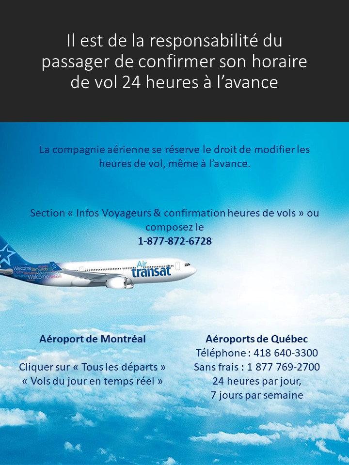 Vols Air Transat information Création voage JM