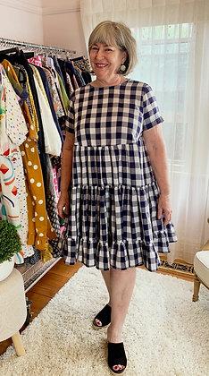 "Marley Dress : Navy Blue & White 1"" gingham"