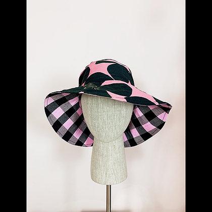 Ponytail Hat : Roses & Checks