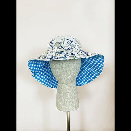 Ponytail Hat : Blue Flowers