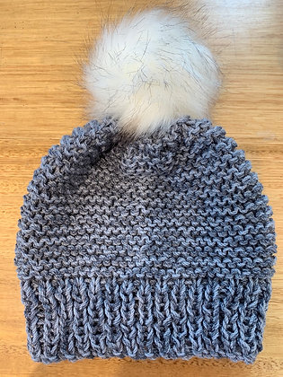 Beanie chunky knit two blues