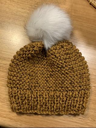 Beanie chunky knit mustard