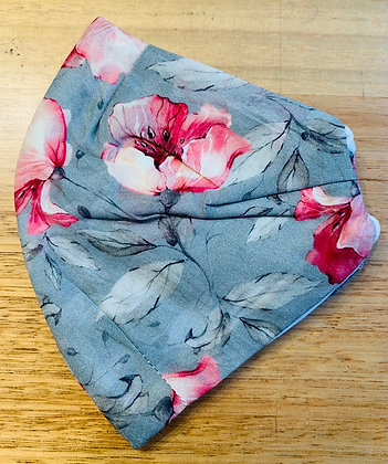 Face Mask : Grey & Pink Floral Voile