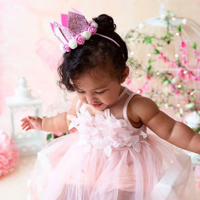 Whimsical pink ballerina cake smash sessions in london