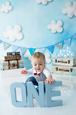 Blue cloud cake smash set