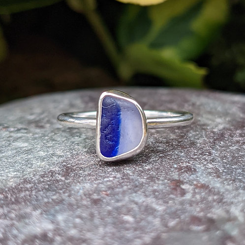 Rare blue and clear striped Seaham seaglass ring