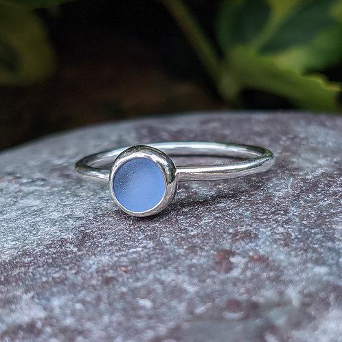 Light blue dorset carved seaglass ring