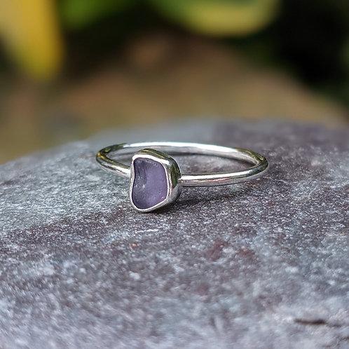 Rare lilac Dorset seaglass ring