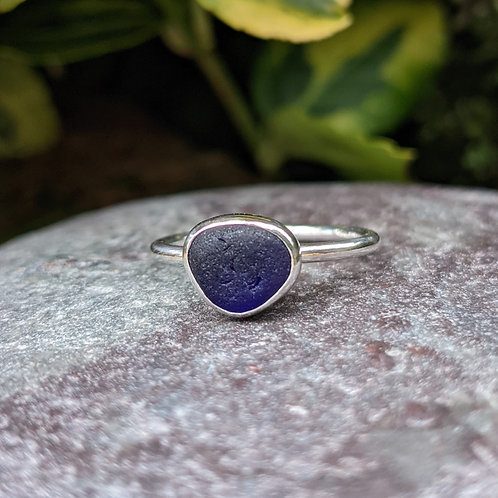 Dark blue Seaham seaglass ring