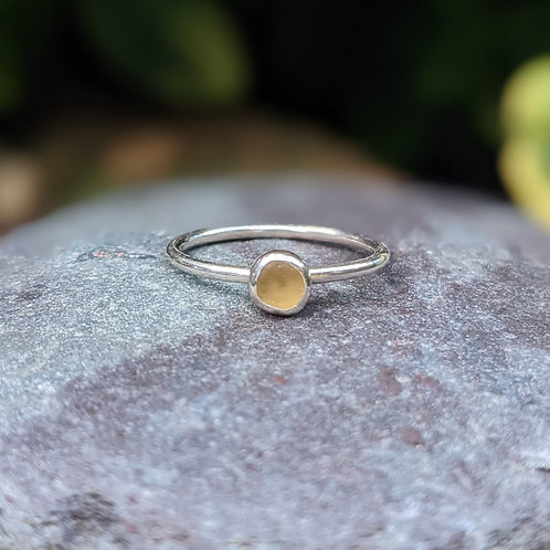 Yellow Seaham seaglass ring