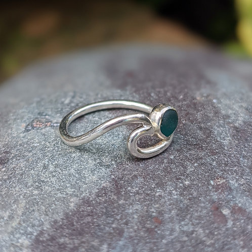Wave Ring with Charmouth Seaglass