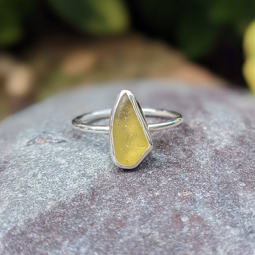 Olive Green Ringstead Bay Seaglass Ring