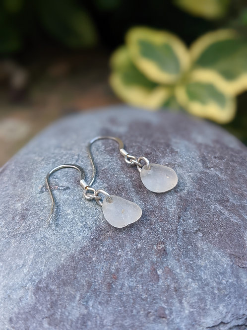 Clear Teardrop Seaglass Earrings