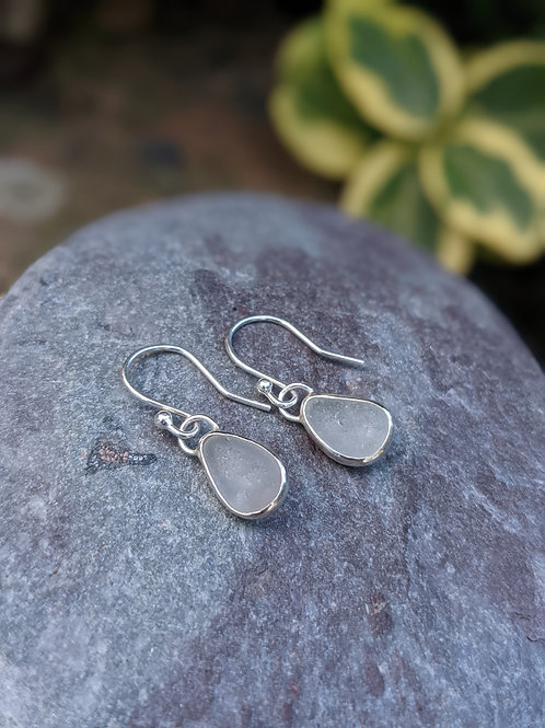 Made to order - Seaglass silver wrapped earrings