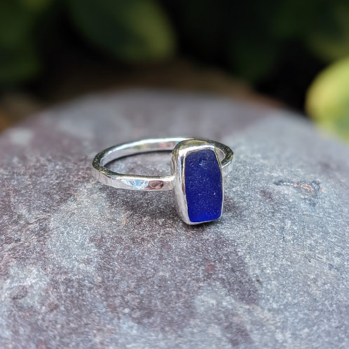 Dark blue Charmouth seaglass ring