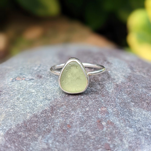 Mint raindrop Dorset seaglass ring