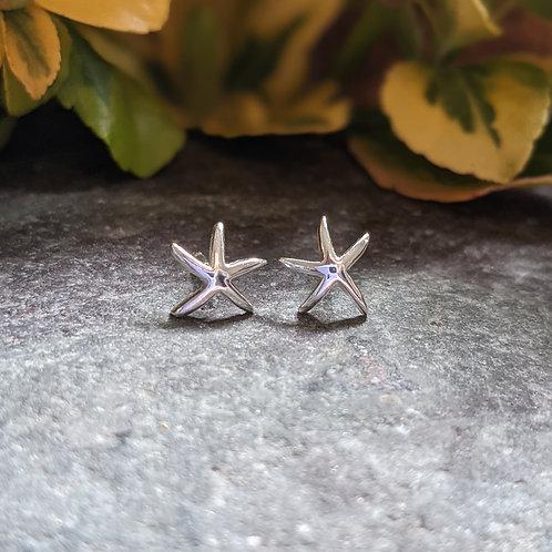 Silver Starfish Studs
