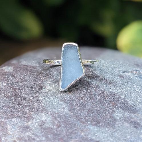 Smokey blue Portland seaglass ring